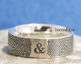 You&Me Forever Your Actual Fingerprint Wedding Ring in Sterling Silver Handmade in the USA Fingerprint ring