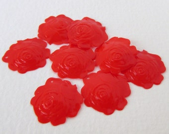 Vintage French Flower Sequins Red Rose Drop Charm Dangle Dome Plastic 21mm sqs0065 (10)