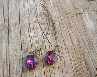 Long Dangle Purple Crystal Heart Vintage Style Brass Earrings