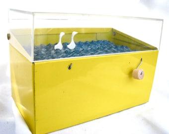 swans art, kinetic nautical bird sculpture, small yellow recipe box, metal file box