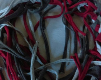 Upcycled Tshirt Fringe Braided Fairy Belt Red Grey Black Ready To Ship