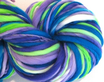 Bulky Handspun Yarn Wondrous Stories 134 yards hand dyed wool blue green purple yarn waldorf doll hair knitting supplies crochet supplies