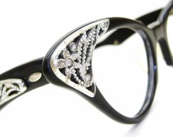 Vintage 50s Elegant Cat Eye Frame Eyeglasses or Sunglasses With Rhinestone Flowers