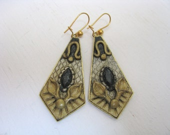 Vintage gold brass black abstract trapezoid dangle hook earrings