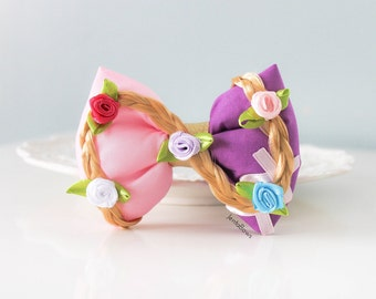 Tangled Hair Bow; Rapunzel Hair Clip; Disney Princess Hair Accessory; Handmade Inspired Bow; Tangled Rapunzel Hair Bow; Rapunzel Hair Bow