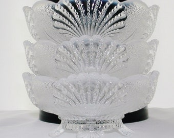 Mosser French Opalescent Berry Bowls Beaded Shell Pattern Mint Condition