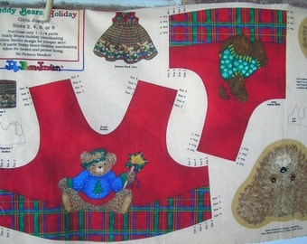 Teddy Bear Holiday  by Jelly Bean Junction Jumper - Pinafore Top Fabric Panel and Skirt Fabric Girl Sizes 2 - 8