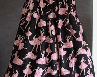 Skirt / Vintage styled /  Artist fabric / retro design / OOAK / Cotton / Handmade / Designer / Pinup / 50's / ballerinas / pink / tutu