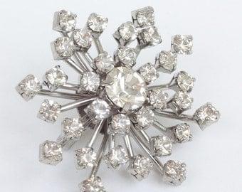 Crystal Rhinestone Snowflake Starburst Brooch Silver Tone Vintage