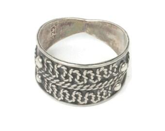 Modernist Cigar Band Boho Ring Applied Design Sterling Silver Size 7 1/4