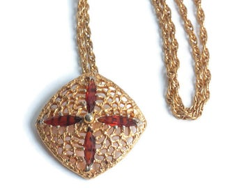 Topaz Amber Glass Brooch Necklace Gold Plated Filigree Navettes SHP Vintage