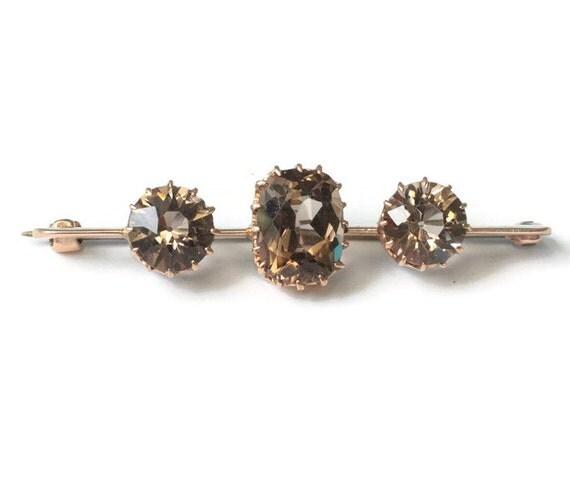 Smoky Quartz  Bar Pin 14K Gold Three Gemstones Victorian Brooch Antique