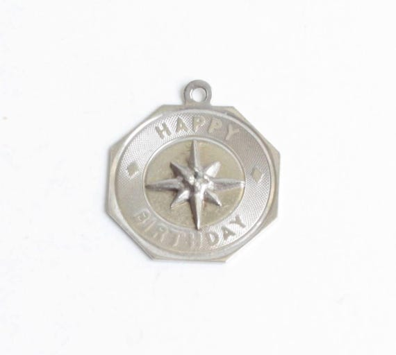 Sterling Silver Happy Birthday Charm with Crystal Rhinestone Vintage