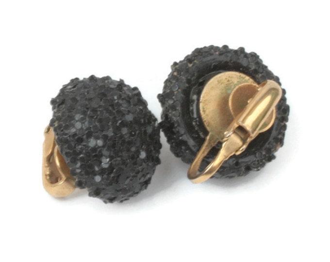 Black Sugar Bead Domed Earrings Clip On Style Vintage