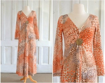 60s MOD Dots Maxi Dress 70s Dress - extra small to small