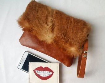 leather and fur clutch, tan leather, fold over clutch, envelope clutch, manbag, fur pouch, leather pouch, furry pouch, fur clutch, upcycled