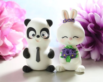 Panda and Rabbit wedding cake toppers - bunny unique cake toppers funny bride groom figurines wedding gift personalized black white purple