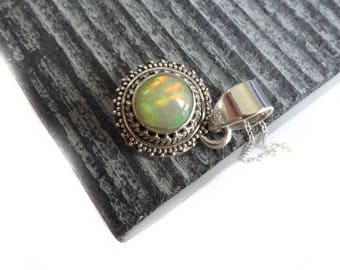 Ethiopian Opal Necklace, Oxidised Ethiopian Opal Pendant, SPECIAL PRICE For Ltd Period