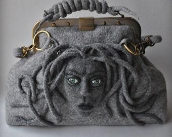 HandBag MEDUSA Gladstone Satchel Doctors Bag felt Felted, Medusa Head, Gift Ideas, Antique Bronze Hardware,2016