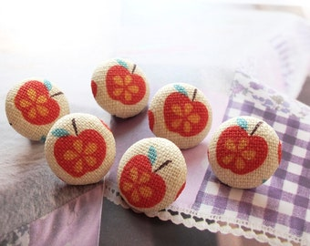 Lovely Shabby Chic Nordic Small Little Red Floral Apples - Handmade Fabric Covered Buttons(0.55 Inches, 6PCS)