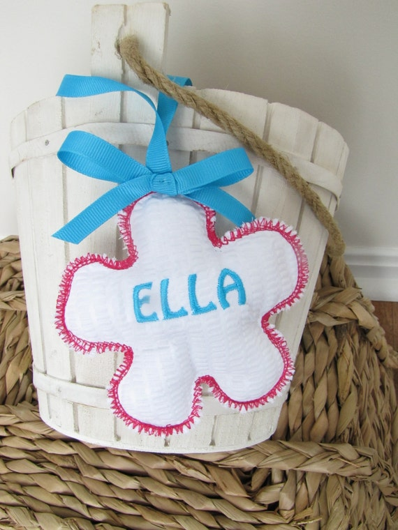 Easter Basket Name Tag Personalized Embroidered Flower