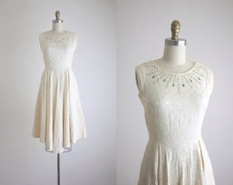 1950s rhinestone brocade dress