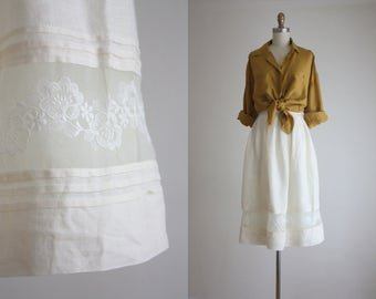 white linen lace skirt