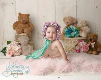 sitter bonnet, flower bonnets, toddler bonnet, newborn bonnets, photo prop bonnet, flower baby bonnets