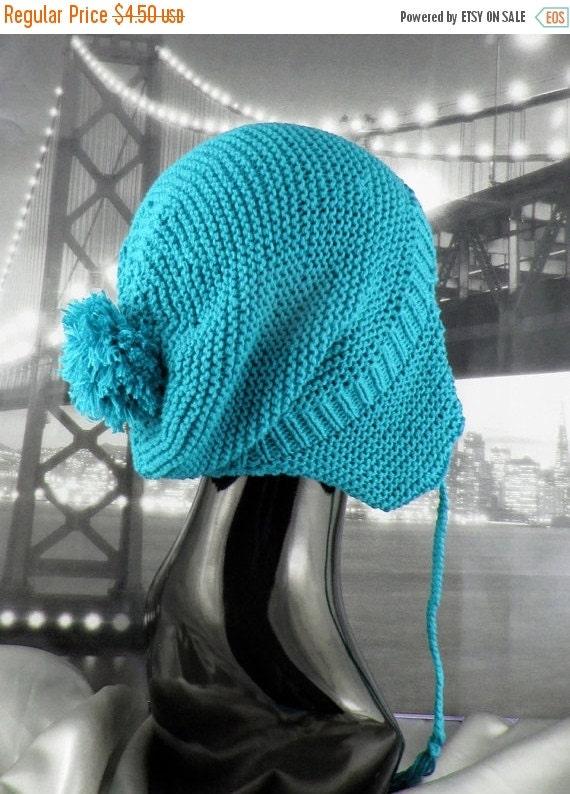 HALF PRICE SALE Instant Digital File pdf download knitting pattern - Bobble Garter StitchTrapper Slouch Hat knitting pattern by Madmonkeykni