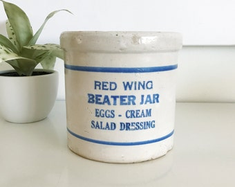 Vintage Red Wing Beater Jar, Eggs, Cream, Salad Dressing Crock, Container Pottery USA, Unmarked
