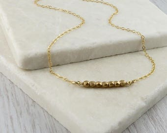 Dainty Gold Bead Necklace, layering bar necklace
