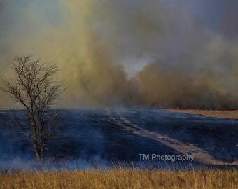 Controlled Burn - Prairie - Kansas - Tallgrass Prairie Preserve - Controlled Fire - Flint Hills - Fine Art Photography