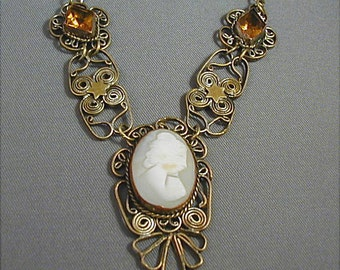 Vintage Cameo Filigree Necklace Italy