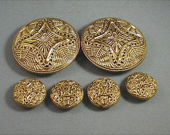 1930s Czech Filigree Buckle and Buttons Set