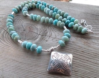 Smooth Turquoise Jasper Necklace with Fine Silver Beads and a Fine Silver Pendant