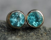 Bright Blue Madagascar Apatite in Brushed 14k White Gold Post Earrings- Ready to Ship