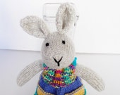 Hand Knit Easter Bunny, Stuffed Animal Toy, Ready To Ship, Baby Girl Gift, Child Nursery, Plush Boho Bunny Rabbit Doll in Rainbow Dress 15""