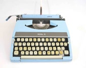 RESERVED for Johnsonemilyrose / Vintage Royal Arrow Portable Typewriter in Baby Blue. Made in Japan. Circa 1960's.