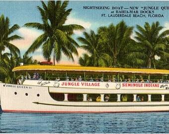Vintage Florida Postcard - Sightseeing on the Jungle Queen (Unused)
