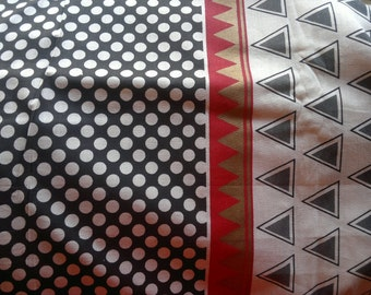 Indian Cotton Fabric, Block Print Fabric, Polka Dots Fabric, Black White Red Gold Fabric, Triangles Print Fabric, Printed Indian Cotton