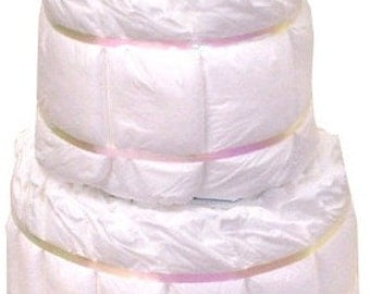 Undecorated diaper cake, Choose any color ribbon 2 layer, plain diaper cake, diy diaper cake, 2 layer diaper cake made with Pampers Diapers