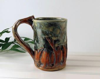 Arts and Crafts Mission Style Pottery Mug, Woodland Decor, Unique Pottery Mug, Handmade Coffee Mug, Tea Cup, Father's Day Gift, 901