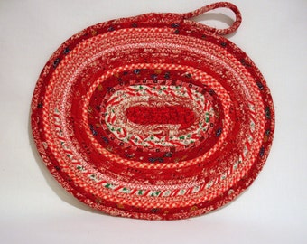 Country Red Coiled Fabric Candle Mat, Country Red Table Mat