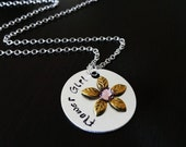 Flower Girl Wedding Gift Hand stamped Rhinestone Personalized Necklace