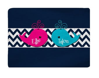 Whales and Chevron Comfort Bath Mat, Turquoise, Hot Pink, Navy, Other Colors available, 27x18 inches - with Initial or Name