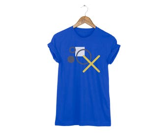 Geo Memphis XO Tee - Boyfriend Fit Crew Neck Cotton Tshirt with Rolled Cuffs in True Royal and Multi Colors - Women's Size S-5XL