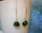 Emerald Green Earrings, Silver Earrings, Girlfriend Gift, Wife, Birthday, Mom, Sister, Best Friend, Mother