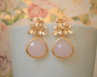 Pink Earrings, Gold Earrings, Flower Post Earrings, Blush Pink Wedding, Bridesmaid, Mom, Wife, Sister, Best Friend