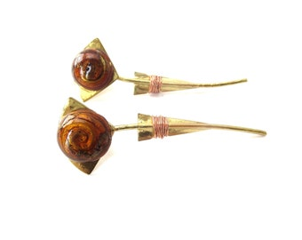 Vintage Handmade Unmarked Mixed Metal Brass & Copper Swirling Brown Glass Cabochon Abstract Flower / Floral Pierced Dangle Earrings