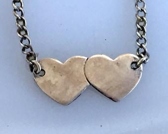 Vintage Sterling Silver Baby Child Necklace 2 Heart Pendant Signed Forstner Engravable